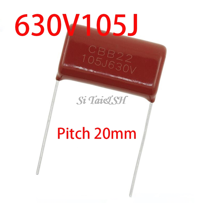 10PCS 630V105J 630V 1UF Pitch 20mm 105 1000NF CBB Polypropylene Film Capacitor