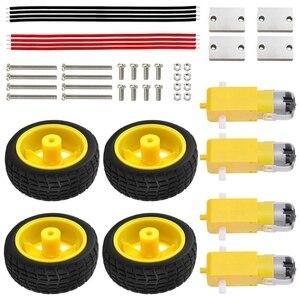 Dc 3v-6v engrenagem tt motor + pneu roda kit para arduino diy robô carro inteligente roda elétrica kit durável anti-interferência