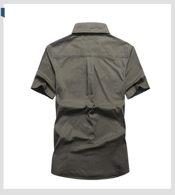 Летняя рубашка с коротким рукавом в военном стиле 3