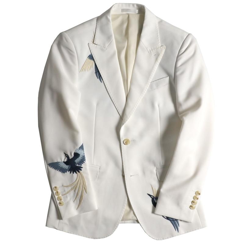 Marry Flower Ceremony Mans Suit Dress Embroidery Men Blazer Masculino Suit Jacket Men Stylish Blazer Homme Stage Stagewear White