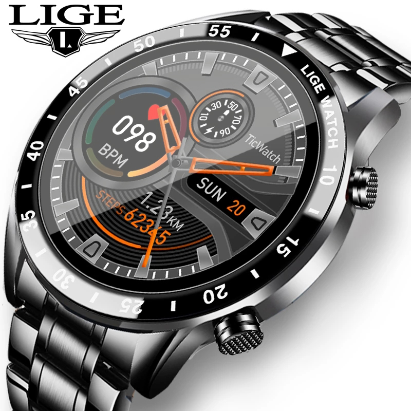 LIGE 2020 Mode Volle Kreis Touch Screen Männer Smart Uhren Wasserdichte Sport Fitness Uhr Luxus Bluetooth Telefon Smart Uhr
