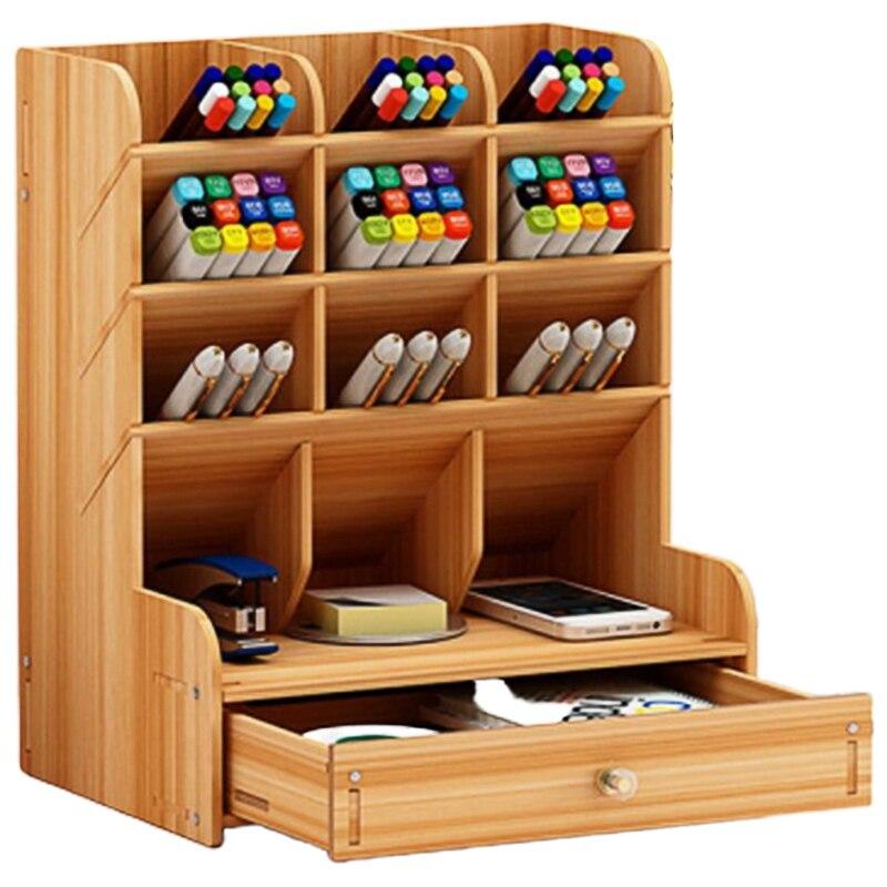 Multifunctional Wooden 13 Grid Desktop Bracket Pen Holder Pencil Storage Box Pencil Pen Makeup Brush Jewelry Display Stand