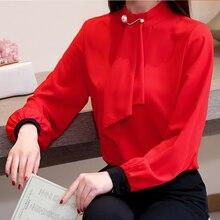 Women Shirts Korean Fashion Chiffon Blouses Tops Elegant Bow Blouse Shirt Plus Size Blusas Mujer De Moda 2019