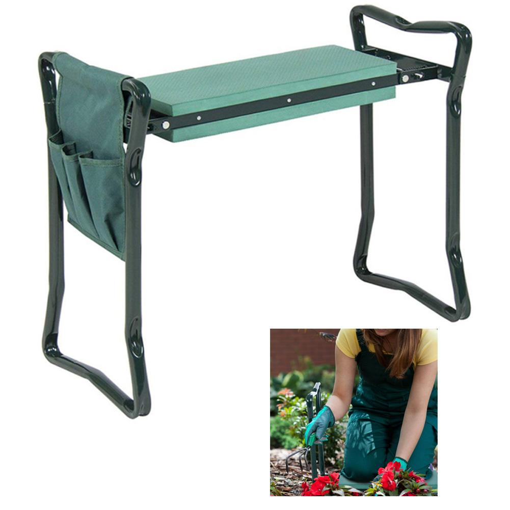Portable Foldable Knee Protector Garden Kneeling Stool with Tools Storage Bag