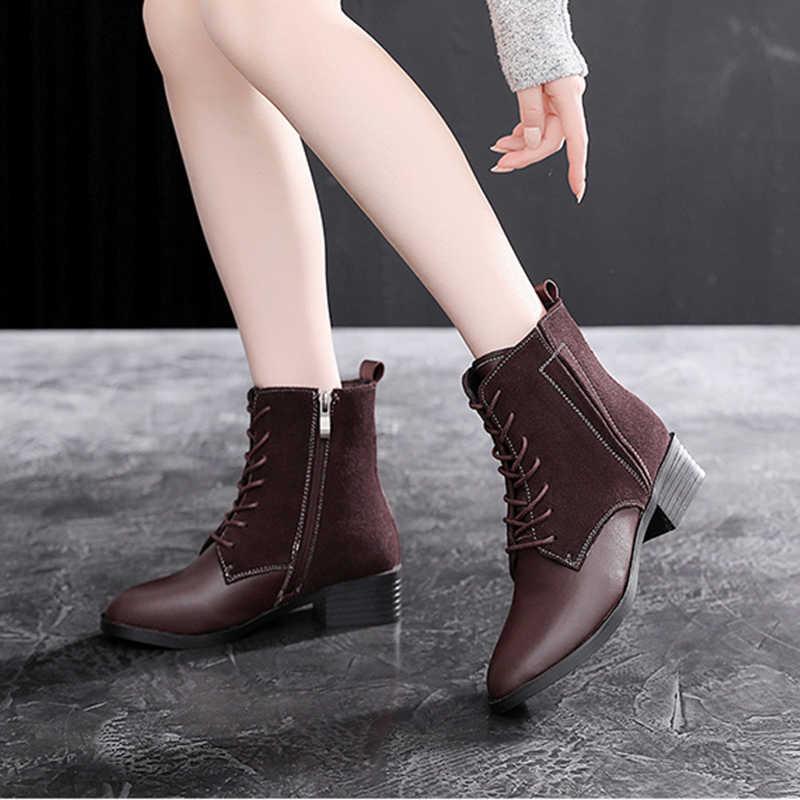 Kadın kış kar botları hakiki deri ayak bileği bahar chelsea çizme kadın kısa çizmeler kadınlar için 2019 çizmeler kahverengi siyah kürk