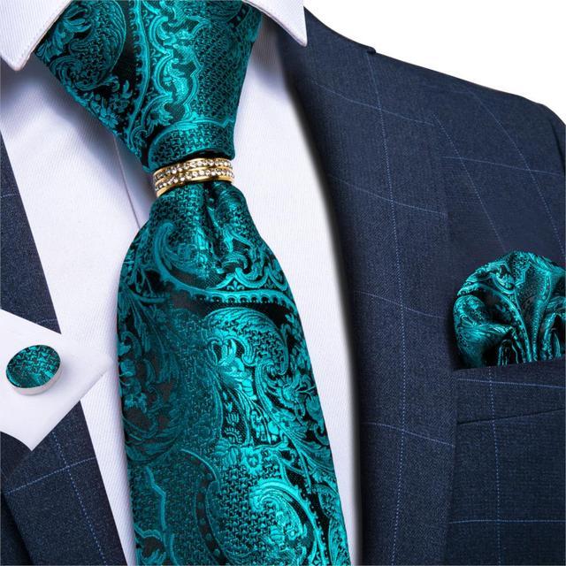TURQUOISE /& PINK PAISLEY SILK TIE HANKY CUFFLINKS ITALIAN DESIGNER