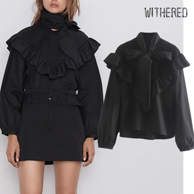 Withered 2019 Autumn Kimono Blouse Women England Vintage Bow Ruffles Cascading Black Blusas Mujer De Moda 2019 Shirt Womens Tops