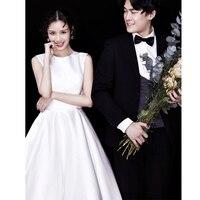 Satin Light Wedding Dresses Bride Simple White Korean Wedding Dress Luxury Dress Elegant Bride Dress Arabic Vestido De Noiva