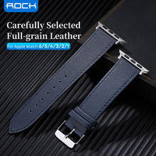 ROCK Leather Strap Belt For Apple Watch Band 44mm 42mm Series 6 5 4 3 2 1 iWatch Flexible Waterproof Leather Watchband
