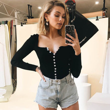 One-word Shoulder Ruffled Long Sleeve Pit Top Slim Jacket Heart Button 2019 Slash Neck Fashion Black Women Shirts ruffled long sleeve top in black