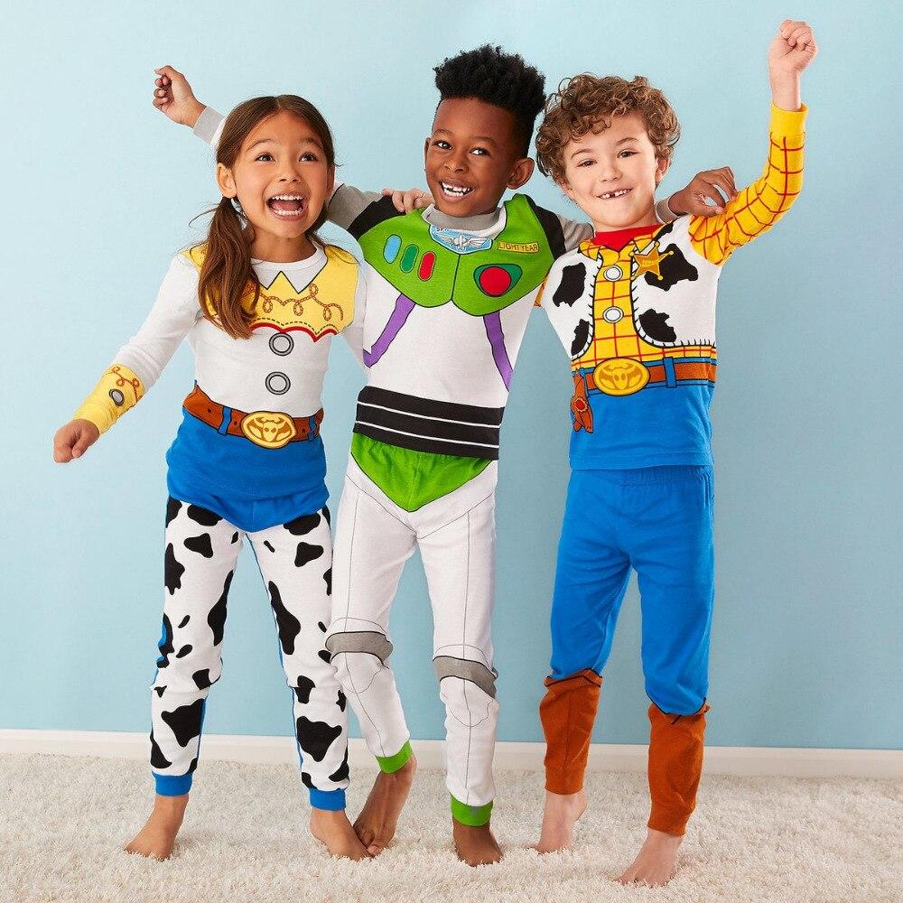 1-7y New Kids Toy Story Woody Buzz Lightyear Pajamas Sets Baby Girls And Boys Clothes Pijamas Cartoon 2pcs Set