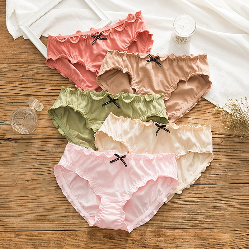 Cute Bow Underwear Women Pleated Lace Seamless Underpants Cotton Solid Panties Middle Waist Lingerie Lovely Girl Briefs