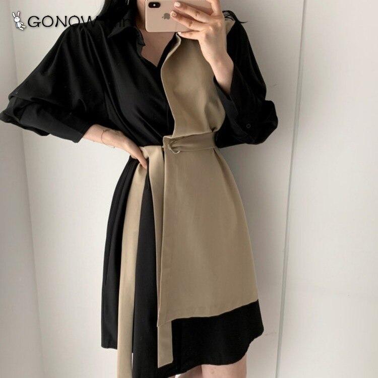 Chic Korean Ladies Elegant Style Two-piece Imitation Dress Long Sleeve Turn Down Collar Patchwork Two Colors Shirt OL Dress