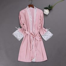 Pink Kimono Robe Women Bride Bridesmaid Sleepwear Night Nightgown Long Sleeve Lace Dressing Gown Bathrobe Female Nightwear(China)
