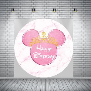 Image 3 - Girl Baby Birthday Photography Backdrop Pink Marble Mouse Round Backdrop Cover Circle Background Party Supplies Photocall Prop