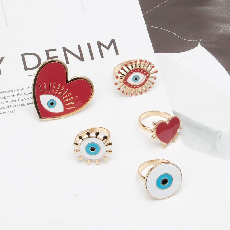 5 pièces coeur émail mauvais œil bande ouverte femmes anneaux bijoux de mode exagérés