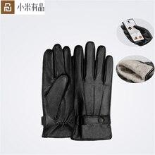 YouPin Qimian kuzu derisi dokunmatik ekran eldiveni İspanyolca ham kış sonbahar kalınlaşmak sıcak unisex sürüş için, moto, balıkçılık eldiven erkekler için