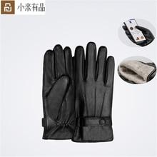 Youpin qimian lambskin tela sensível ao toque luvas espanhol cru inverno outono engrossar quente unisex para condução, moto, luvas de pesca para homem