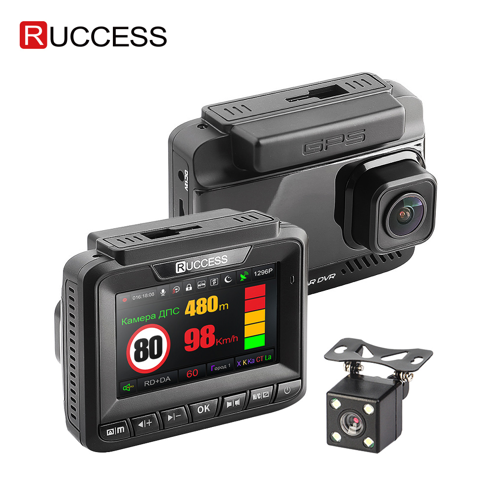 Ruccess Radar Detector GPS 3 In 1 Car DVR FHD 1296P 1080P Dual Lens Dash Cam Speed Cam Anti-Radar Video Recorder Car Camera
