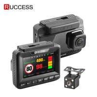 Ruccess wykrywacz radarów GPS 3 w 1 wideorejestrator samochodowy FHD 1296P 1080P podwójny obiektyw kamera na deskę rozdzielczą prędkość kamery anty-radarowy wideorejestrator samochodowy