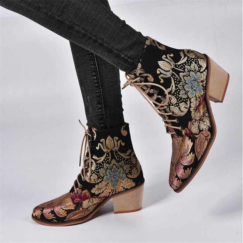Donne alla moda Chelsea Stivali Ricama Etnico Inverno Della Caviglia di Boot Lace Up scarpe A Punta Tacco Alto Scarpe Da Cowboy Caldo Botas Mujer retro