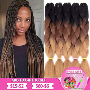 Hair-Braiding-Extensions Braid-Hair Crochet Twist Pre-Stretched Synthetic Ombre Kanekalon