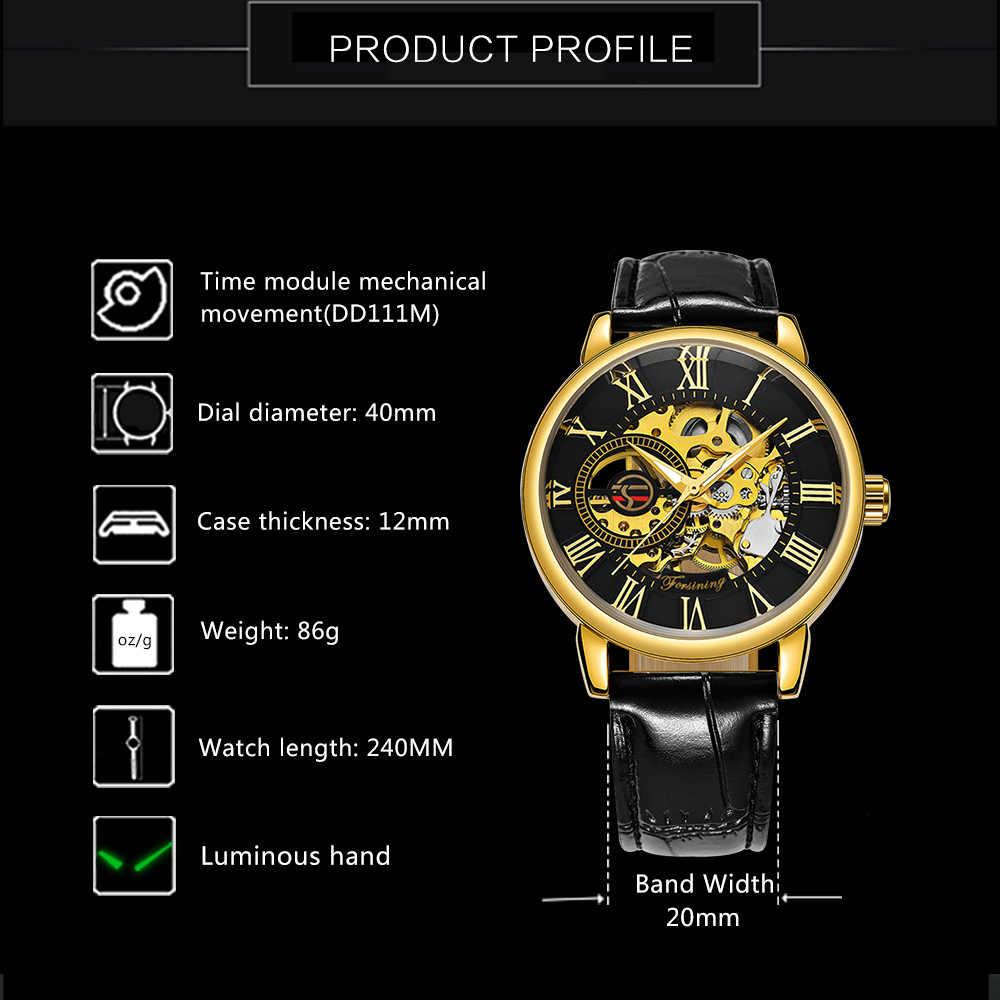 ساعات يد رجالية آلية FORSINING ثلاثية الأبعاد بشعار باللون الأسود والذهبي من FORSINING لعام 2019 ساعات رجالية ماركة فاخرة من الجلد فائزة بتصميم هيكلي