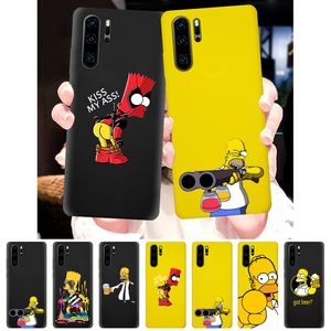Homer J.Simpson Case For Huawei Mate 20 P20 P10 P30 Pro Lite Plus Soft Cover Yellow Coque Bart Simpson(China)