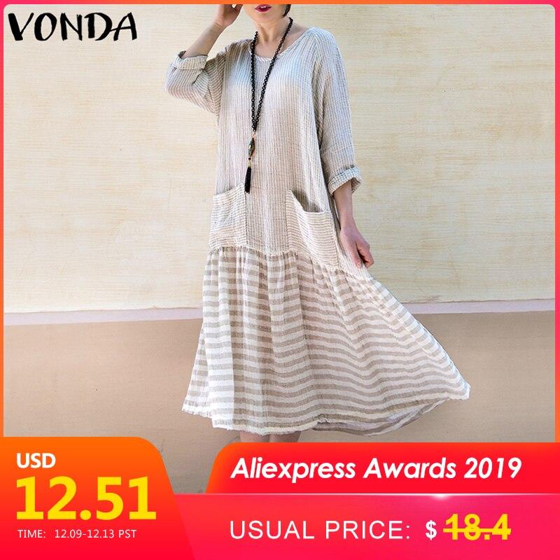 VONDA Dress For Women 2019 Vintage Bohemian Long Dress Casual Long Sleeve Stripe Patchwork Loose Party Vestidos Female Oversized