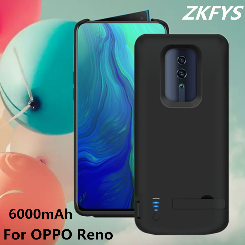 ZKFYS Power Case For OPPO Reno High Quality External Bracket  Bank Battery Cover 6000mAh Portable Charger Cases