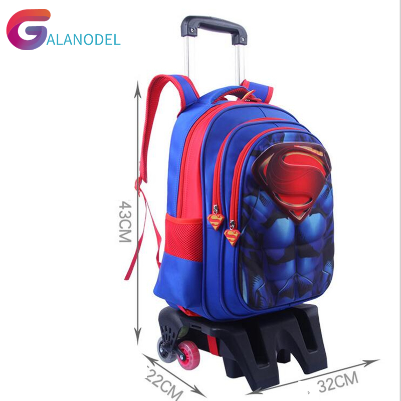 School Backpack Trolley 6 Wheeles Bag Strong Upstair Waterproof  Wheeled Children School Bag With Wheels Girls Kids Luggage