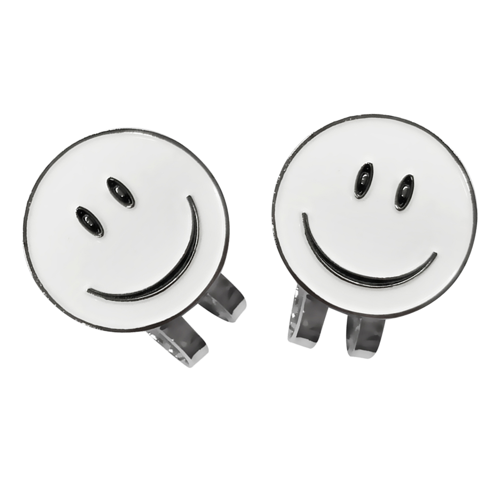 2 Pieces White Smile Face Golf Ball Marker With Magnetic Hat Clip Golf Gift