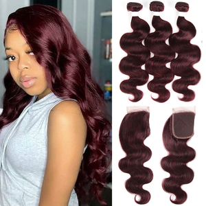 Image 2 - 99J/Burgundy Body Wave Human Hair Bundles With Closure 4x4 KEMY HAIR Brazilian Hair Weave Bundles With Lace Closure Non Remy