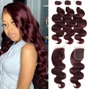 Image 2 - 99j/borgonha onda do corpo pacotes de cabelo humano com fechamento 4x4 kemy cabelo brasileiro tecer pacotes com fechamento do laço não remy