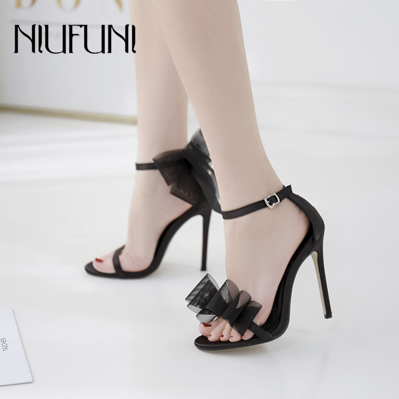 NIUFUNI Fashion Mesh Bow Women 39 s Sandals Stiletto High Heels Belt Buckle Round Head Women 39 s Shoes Female Slip On Solid Shoes in High Heels from Shoes