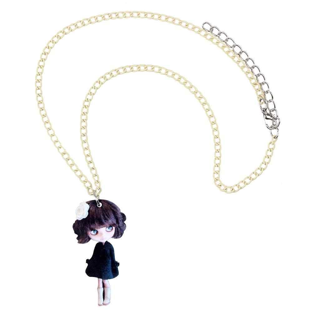 Bonsny Akrilik Rambut Pendek Hitam Gaun Gadis Kalung Liontin Kalung Manis Perhiasan untuk Gadis Lady Anak-anak Pesona Hadiah Desain Baru 2019