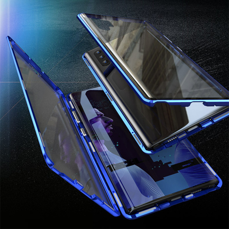Tempered <font><b>Glass</b></font> <font><b>Case</b></font> For <font><b>Samsung</b></font> <font><b>Galaxy</b></font> Note 10 Pro A50 A70 8 9 S8 S9 Plus S10e Metal Magnetic Cover For A7 A8 A9 Plus M10 Coque image