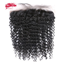 13x4 Lace Frontal Closure Brazilian Deep Wave Natural Color Ali Queen Hair Products 100% Virgin Human Hair Free Part Frontal