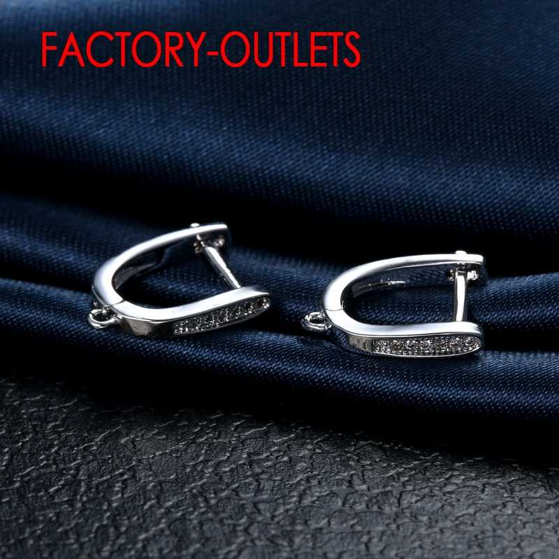 925 srebro kolczyki mikro wkładka symulowane diament cyrkon biżuteria ustalenia kolczyki dla kobiet Factory Outlet