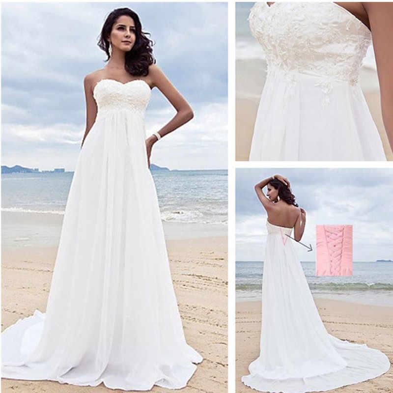 תחרה אפליקציות חתונת שמלת 2019 חוף כלה שמלת שיפון חתונת שמלות לבן Vestido דה Noiva
