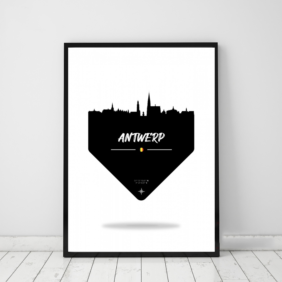Antwerp Belgium Skyline art Poster Canvas Art Print Wall Pictures for Living Room No Frame