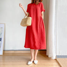 Dresses summer woman 2021 Solid color O-neck Simple literary style plus size women clothing Fat MM Casual loose mid-length Dress