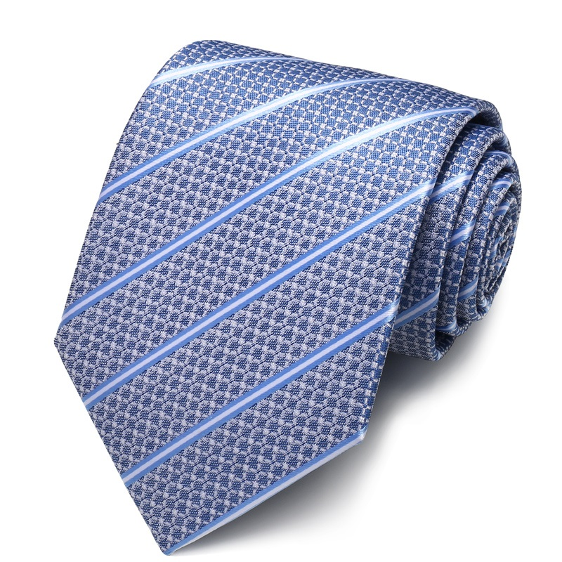 High Quality 2020 Designer New Fashion White Blue Striped Flower Pattern 8cm Ties For Men Necktie Work Formal Suit With Gift Box