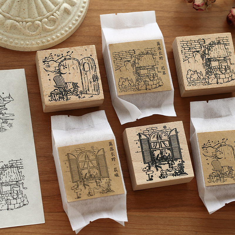 Vintage Courtyard Series Stamp Decoration Wooden Rubber Stamps For Scrapbooking Stationery Scrapbooking DIY Craft Standard Stamp