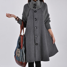 2020 Autumn & Winter Stand Collar Large Size Dress Mid-length Trench Coat Coat Loose-Fit Slimming Korean-style Woolen Overcoat