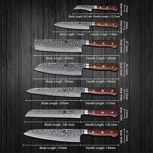 Image 2 - XINZUO Juego de cuchillos de acero damasco Juego de Cuchillos de Cocina, 7 Uds., utensilios de cocina para pelar, Chef Santoku, mango de palisandro para Cocina