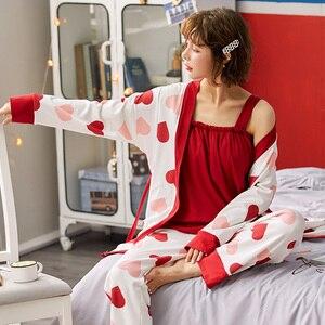Image 2 - Bzel algodão pijamas conjunto para mulher vermelho amor pijamas dos desenhos animados femme nighty casual homewear loungewear 3 peça conjuntos pijamas