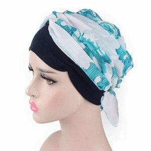 Image 5 - Helisopus Mode Vrouwen Moslim Tulband Chiffon Sjaals Hoeden Lange Haar Hoofddoeken Chemo Caps Haaraccessoires Vrouwen Bandana