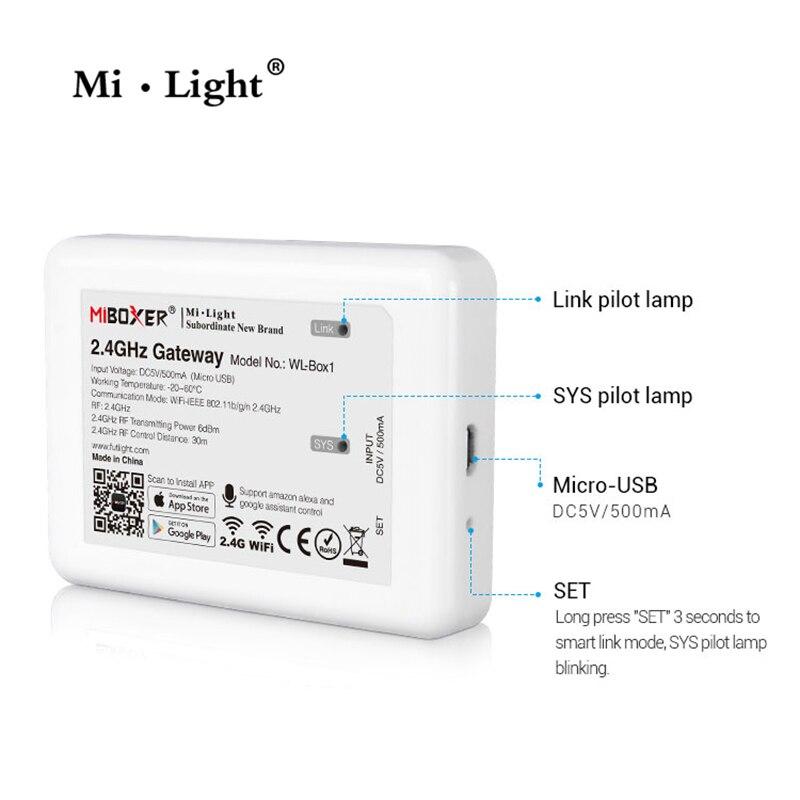 Mi Light (iBox2 Upgraded Version ) WL-Box1 2.4GHz WiFi Smart Light /WiFi IBox Controller DC5V RF Remote Wifi RGB Light Wireless