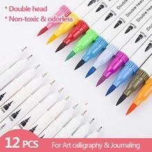 Marqueurs de croquis d'art colorés, ensemble de dessin, Double tête, stylo pinceau aquarelle, scrapbooking, fournitures de papeterie pour journal intime, 12 pièces